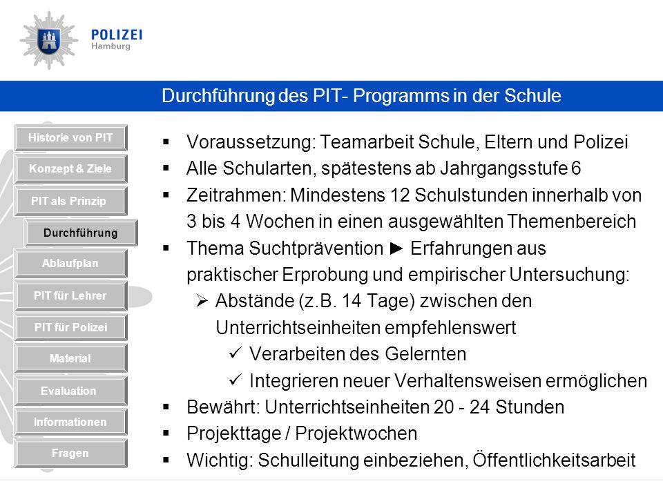 Durchführung des PIT- Programms in der Schule