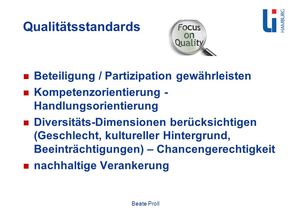 Qualitätsstandards Beteiligung / Partizipation gewährleisten