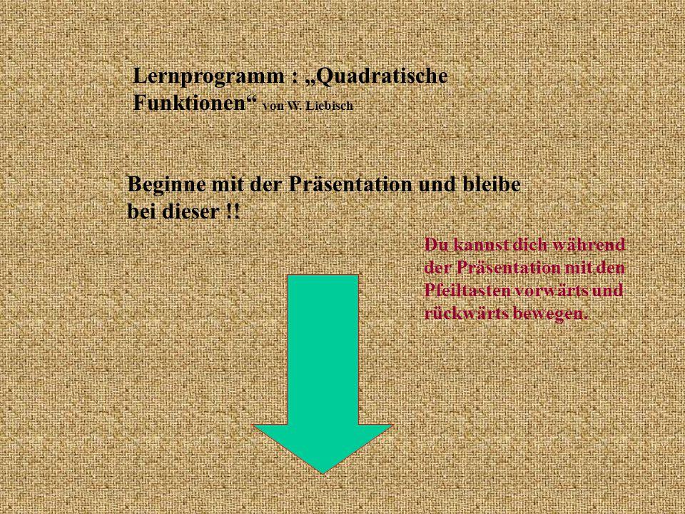 """Lernprogramm : """"Quadratische Funktionen von W. Liebisch"""