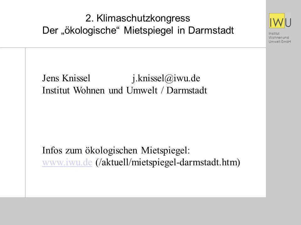 """2. Klimaschutzkongress Der """"ökologische Mietspiegel in Darmstadt"""