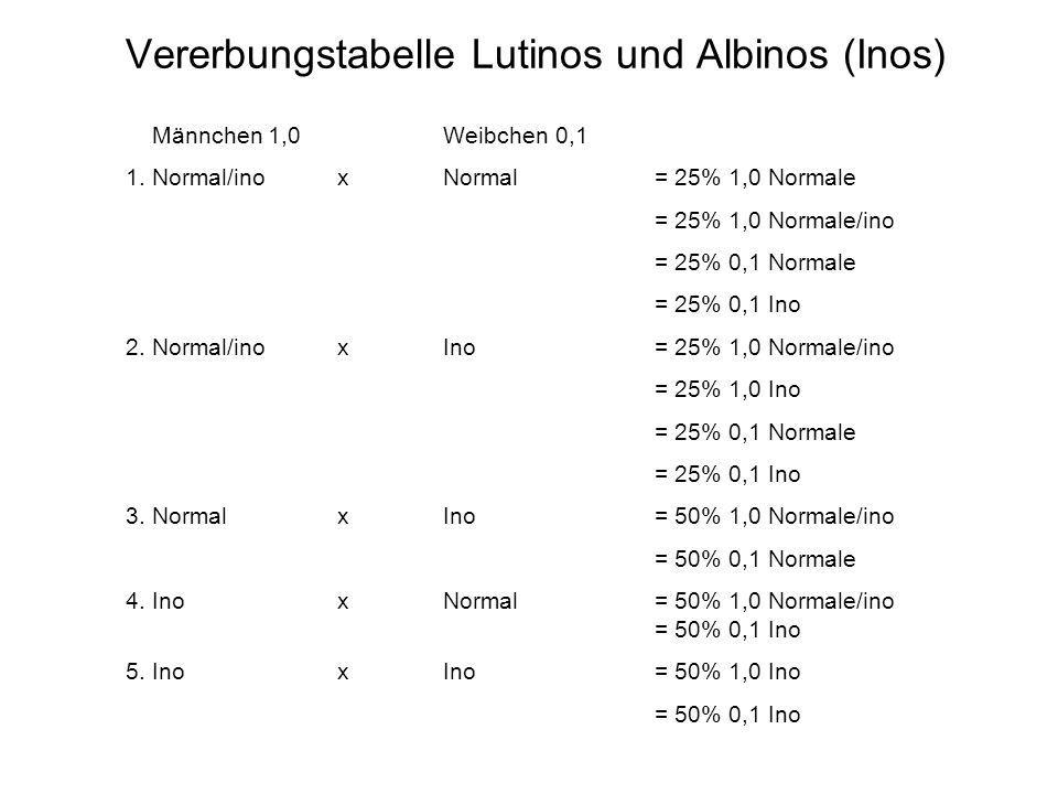 Vererbungstabelle Lutinos und Albinos (Inos)