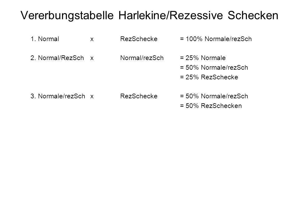 Vererbungstabelle Harlekine/Rezessive Schecken