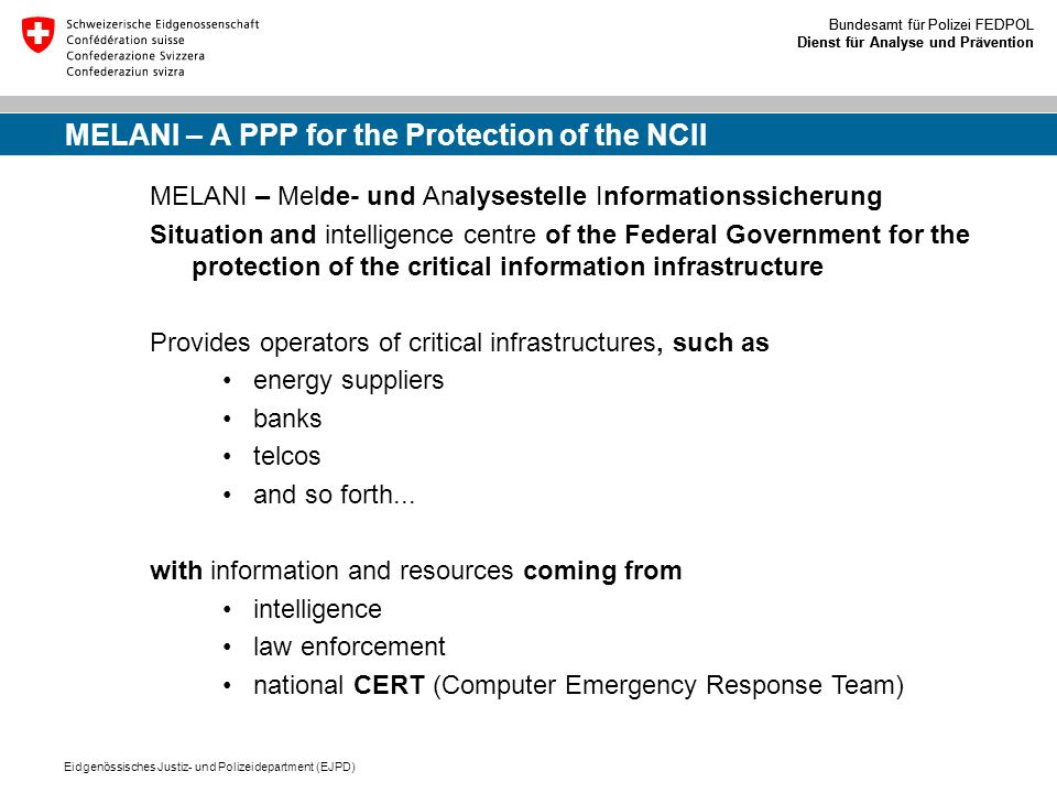 MELANI – A PPP for the Protection of the NCII
