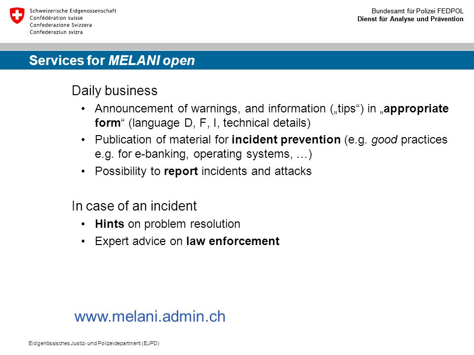 Services for MELANI open