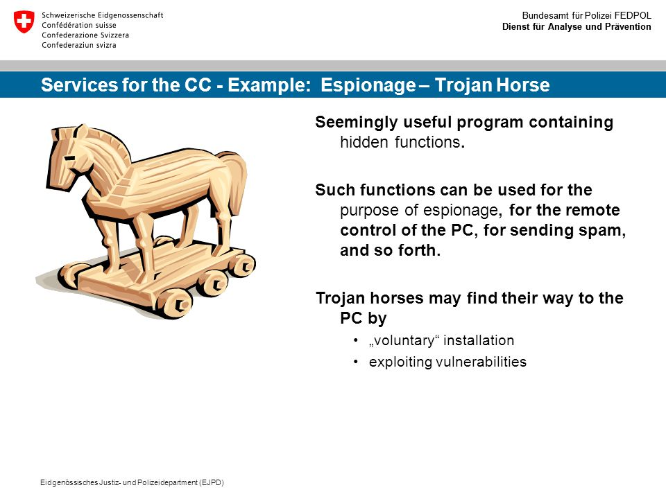 Services for the CC - Example: Espionage – Trojan Horse
