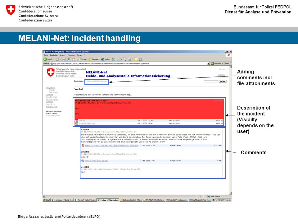 MELANI-Net: Incident handling