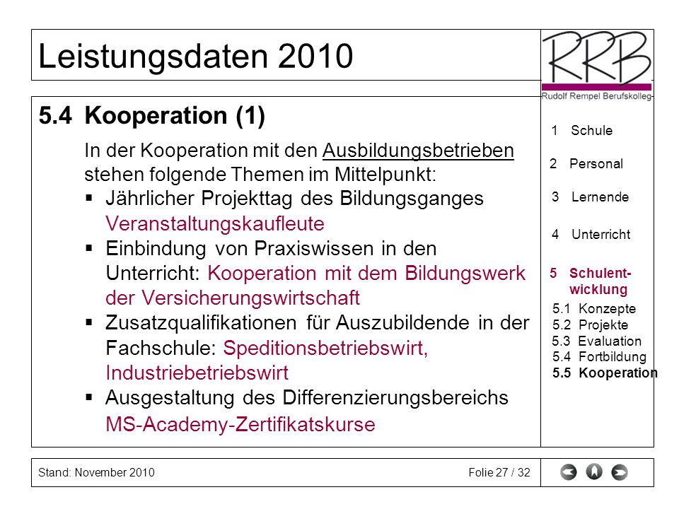 5.4 Kooperation (1) In der Kooperation mit den Ausbildungsbetrieben
