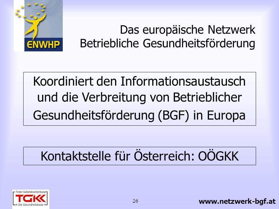 Das europäische Netzwerk Betriebliche Gesundheitsförderung