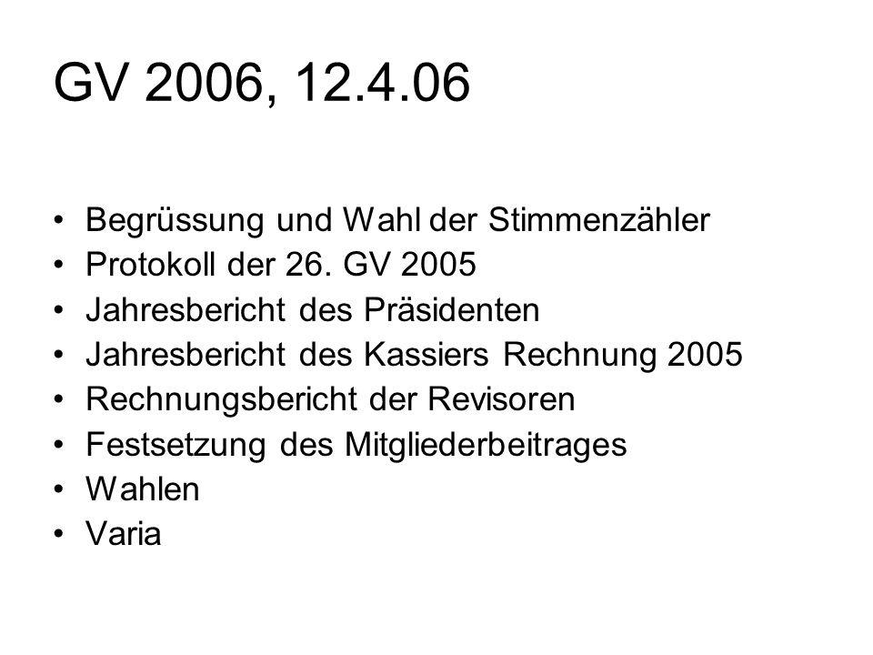 GV 2006, 12.4.06 Begrüssung und Wahl der Stimmenzähler