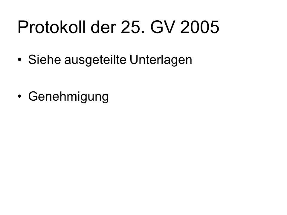 Protokoll der 25. GV 2005 Siehe ausgeteilte Unterlagen Genehmigung