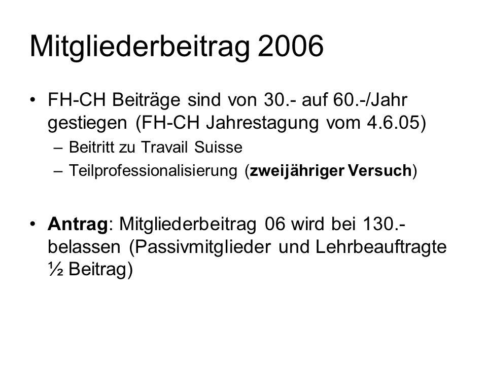 Mitgliederbeitrag 2006 FH-CH Beiträge sind von 30.- auf 60.-/Jahr gestiegen (FH-CH Jahrestagung vom 4.6.05)