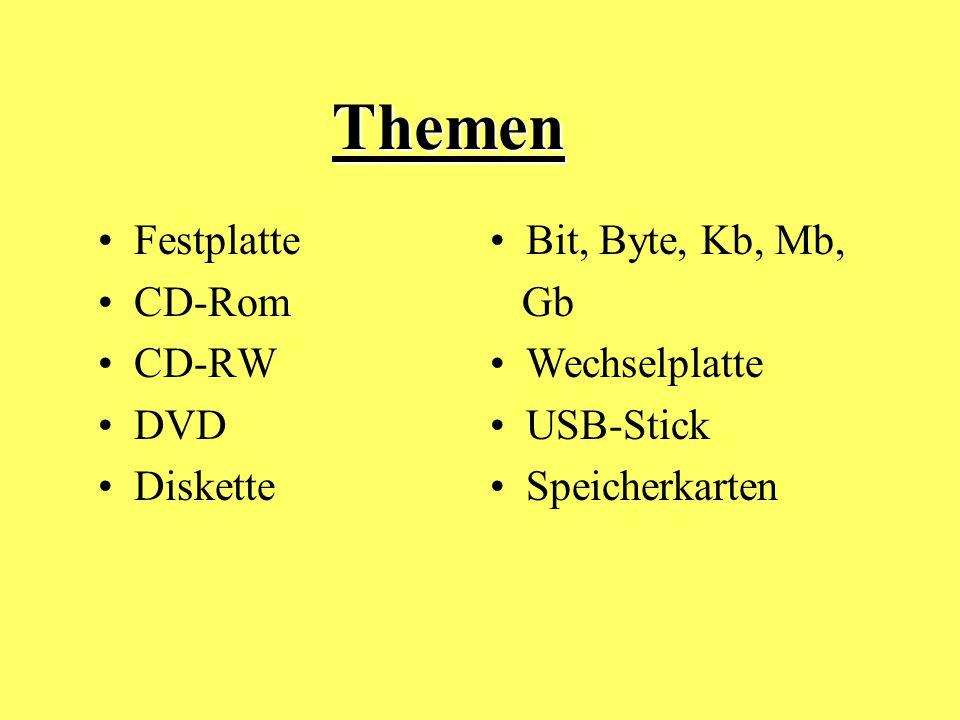 Themen Themen Festplatte CD-Rom CD-RW DVD Diskette Bit, Byte, Kb, Mb,