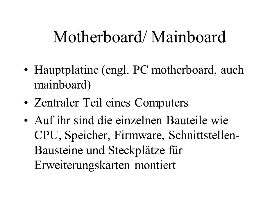 Motherboard/ Mainboard