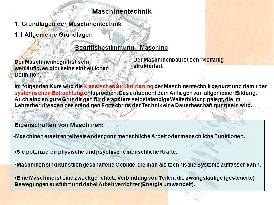 Maschinentechnik 1. Grundlagen der Maschinentechnik