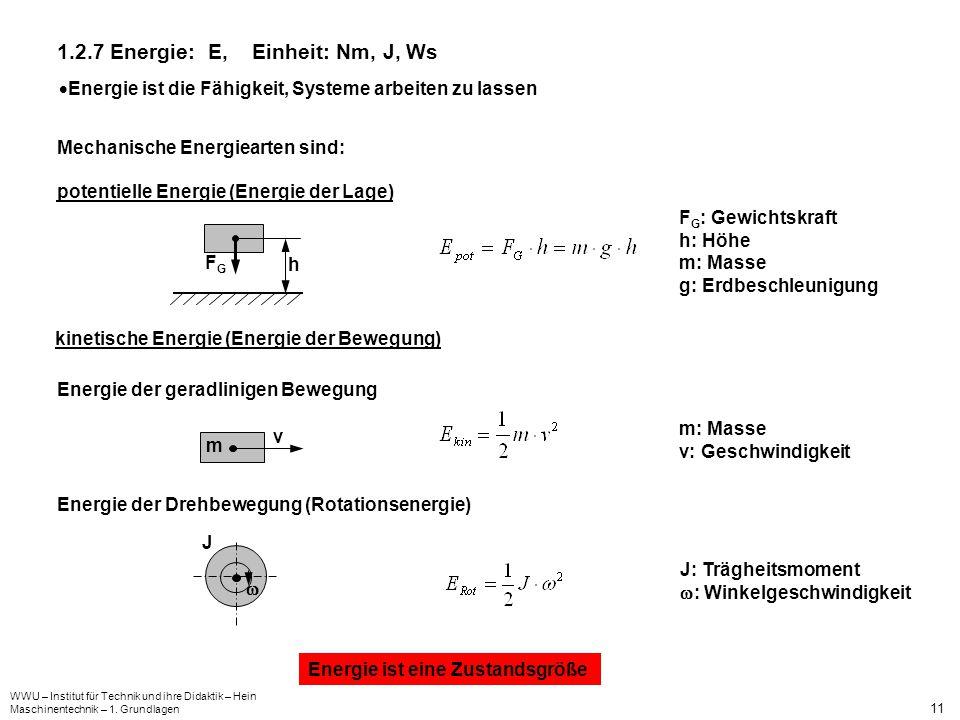 1.2.7 Energie: E, Einheit: Nm, J, Ws