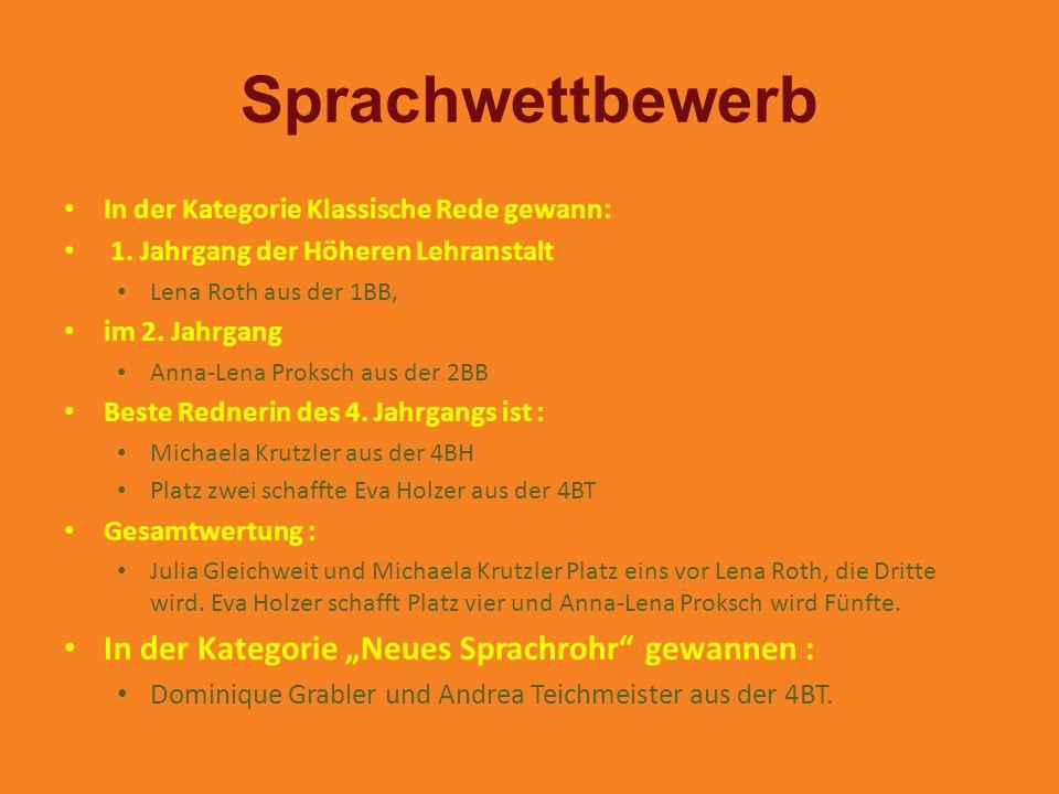 """Sprachwettbewerb In der Kategorie """"Neues Sprachrohr gewannen :"""