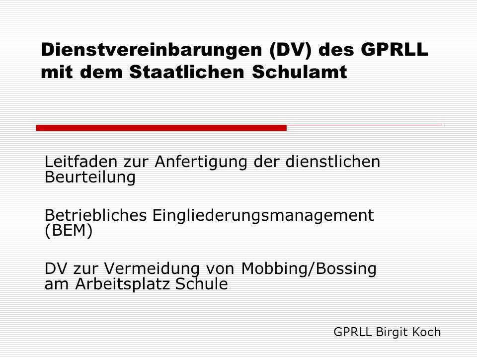 Dienstvereinbarungen (DV) des GPRLL mit dem Staatlichen Schulamt