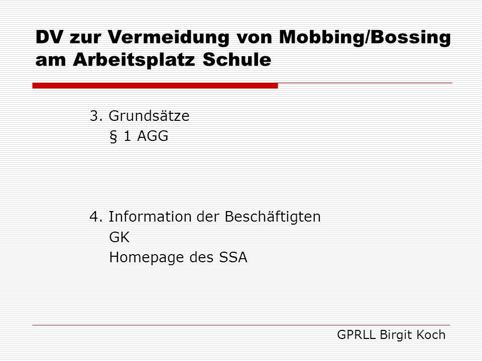 DV zur Vermeidung von Mobbing/Bossing am Arbeitsplatz Schule