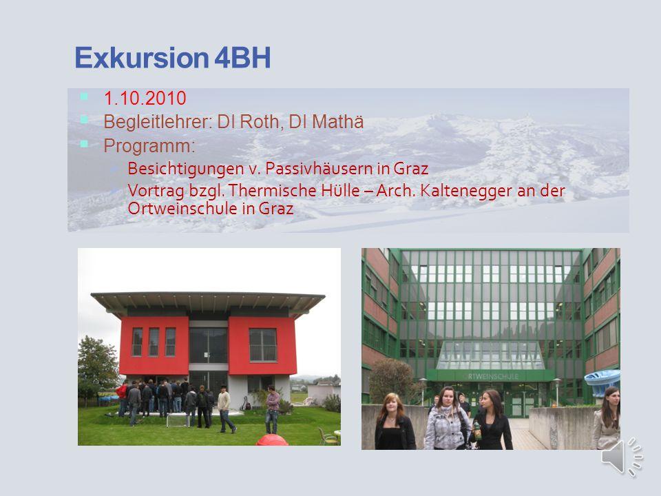 Exkursion 4BH 1.10.2010 Begleitlehrer: DI Roth, DI Mathä Programm: