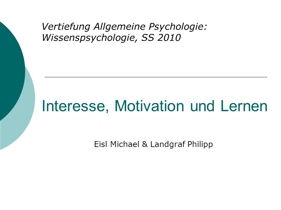 Interesse, Motivation und Lernen