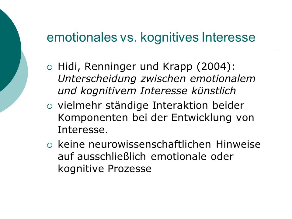 emotionales vs. kognitives Interesse
