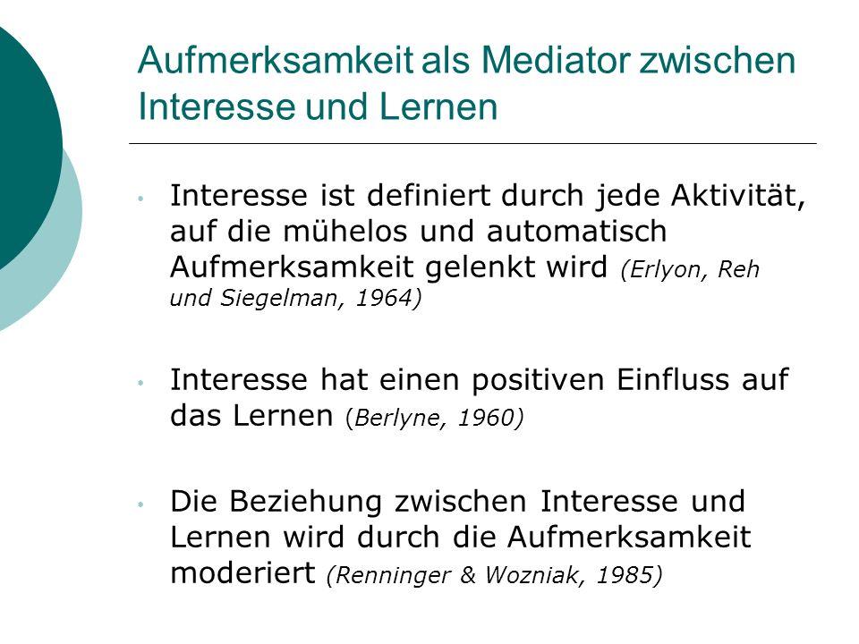 Aufmerksamkeit als Mediator zwischen Interesse und Lernen