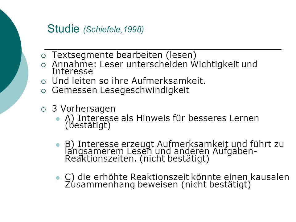Studie (Schiefele,1998) Textsegmente bearbeiten (lesen)