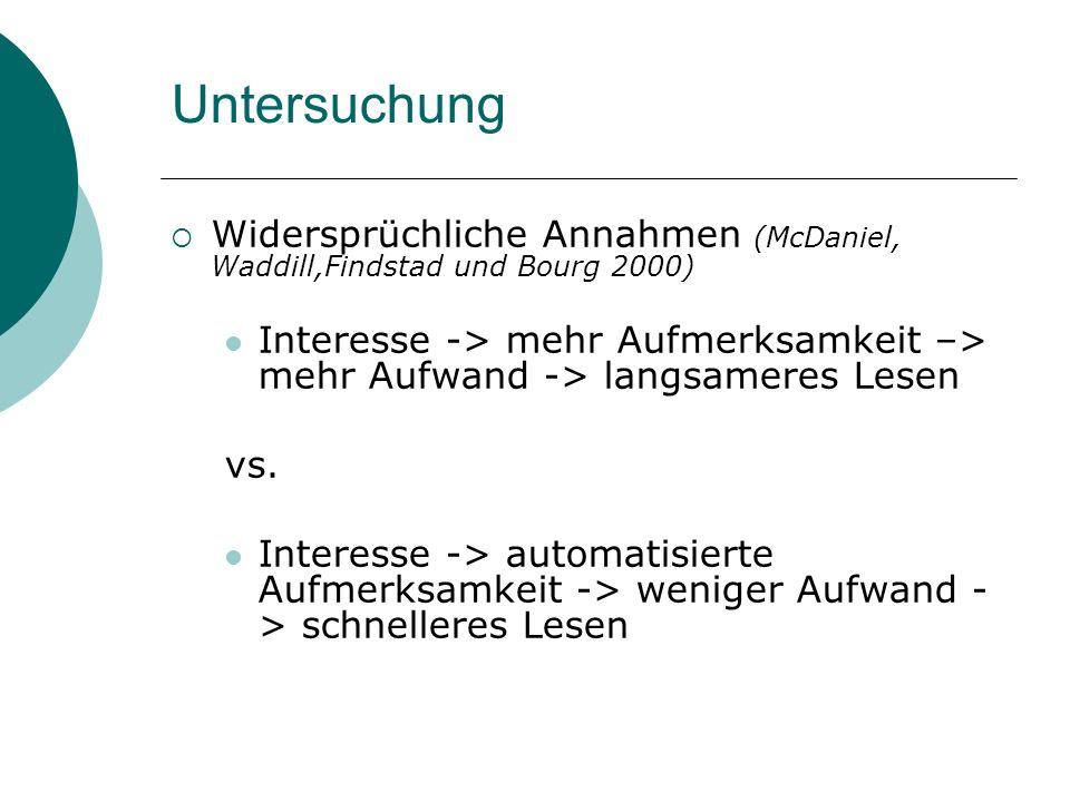 Untersuchung Widersprüchliche Annahmen (McDaniel, Waddill,Findstad und Bourg 2000)