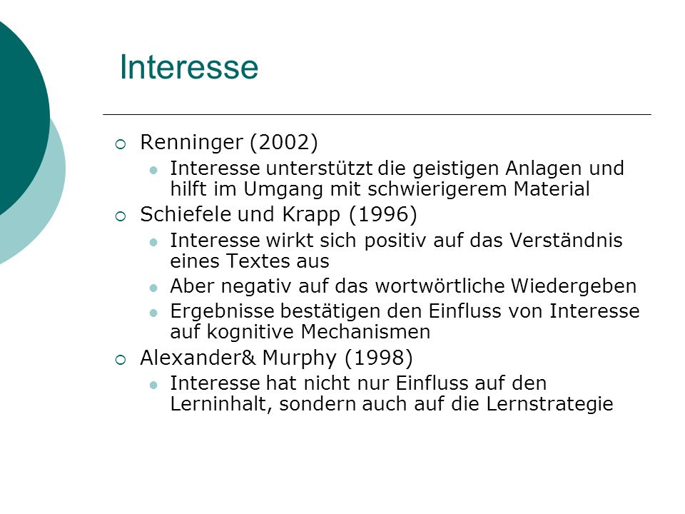 Interesse Renninger (2002) Schiefele und Krapp (1996)