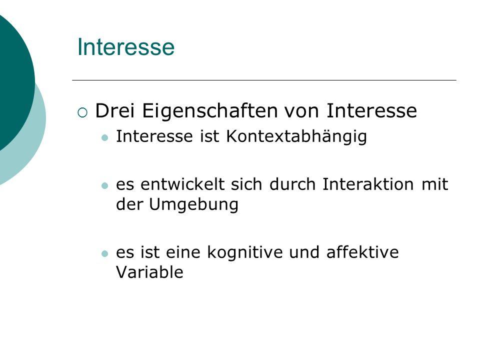 Interesse Drei Eigenschaften von Interesse