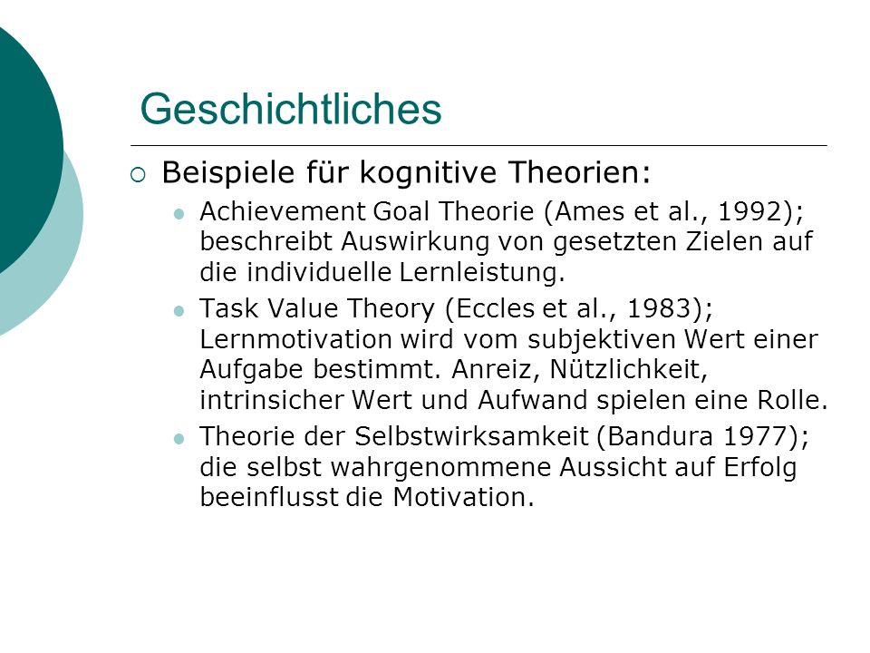 Geschichtliches Beispiele für kognitive Theorien: