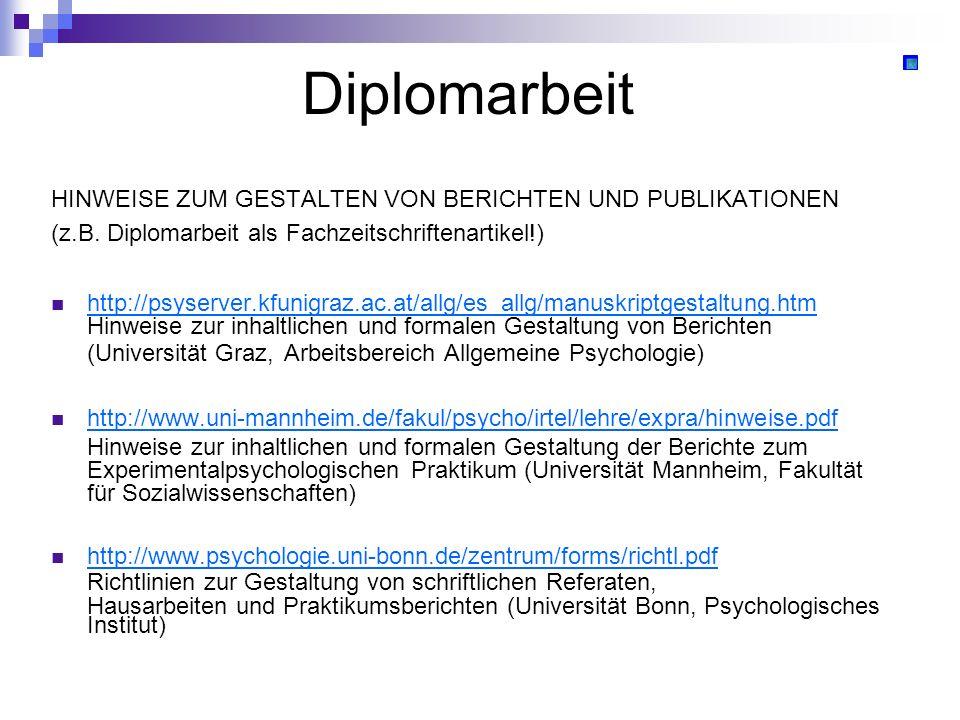Diplomarbeit HINWEISE ZUM GESTALTEN VON BERICHTEN UND PUBLIKATIONEN