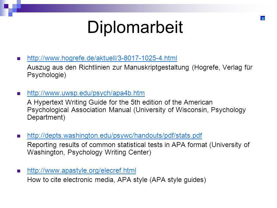 Diplomarbeit http://www.hogrefe.de/aktuell/3-8017-1025-4.html