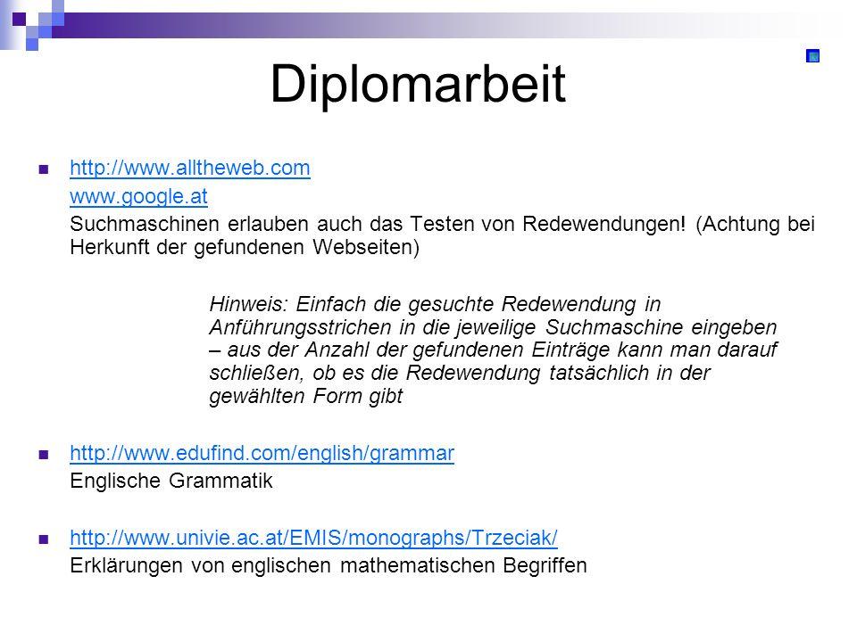 Diplomarbeit http://www.alltheweb.com www.google.at