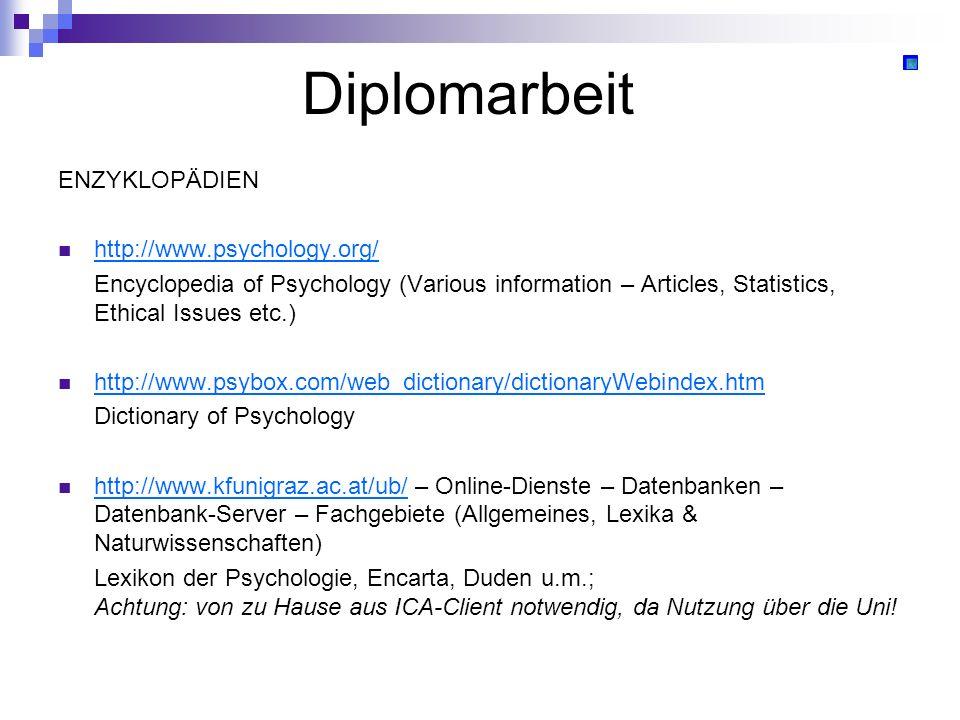 Diplomarbeit ENZYKLOPÄDIEN http://www.psychology.org/