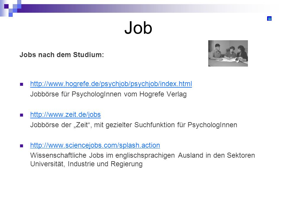 Job Jobs nach dem Studium: