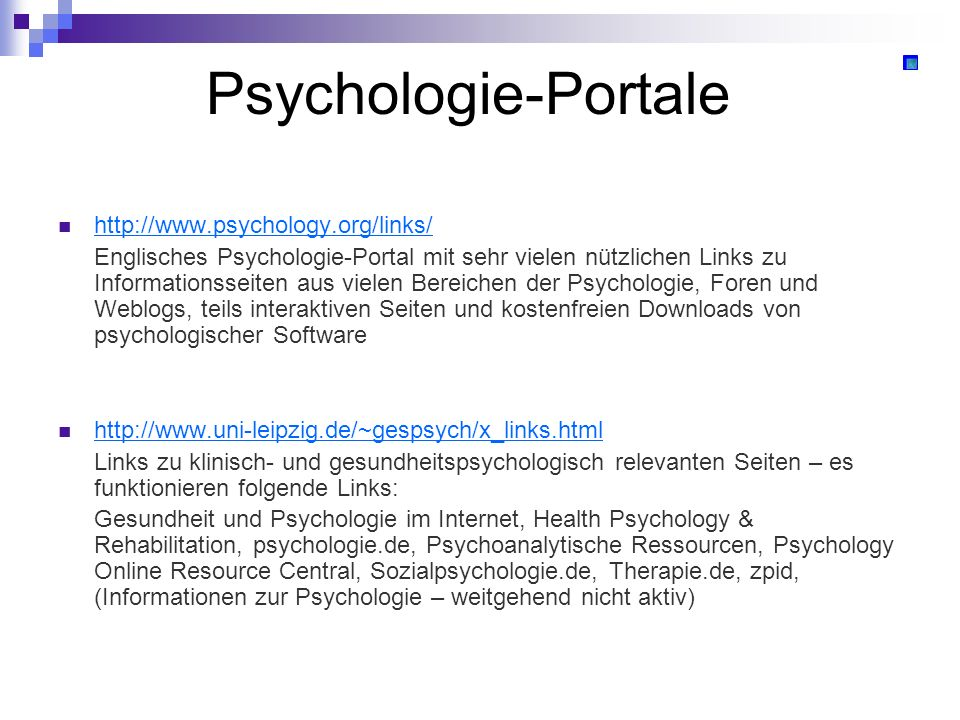 Psychologie-Portale http://www.psychology.org/links/