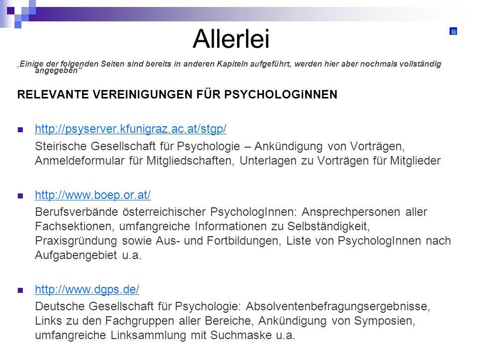 Allerlei RELEVANTE VEREINIGUNGEN FÜR PSYCHOLOGiNNEN