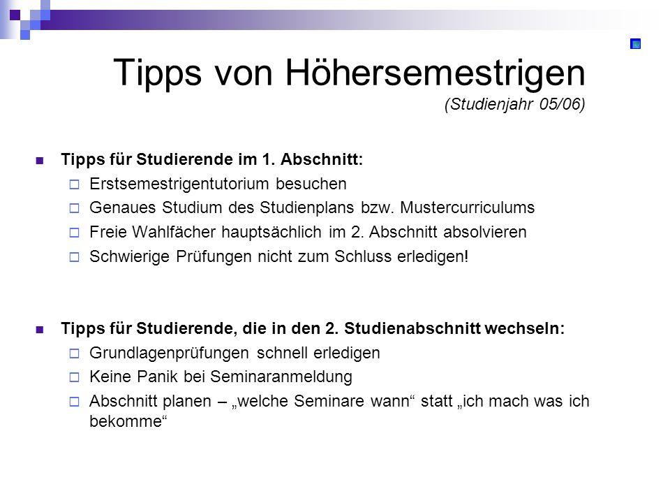 Tipps von Höhersemestrigen (Studienjahr 05/06)