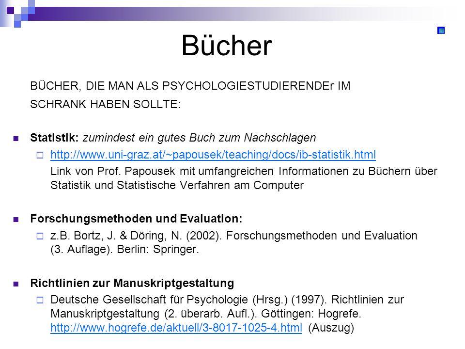 Bücher BÜCHER, DIE MAN ALS PSYCHOLOGIESTUDIERENDEr IM