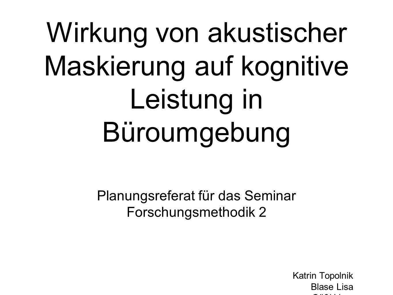 Planungsreferat für das Seminar Forschungsmethodik 2