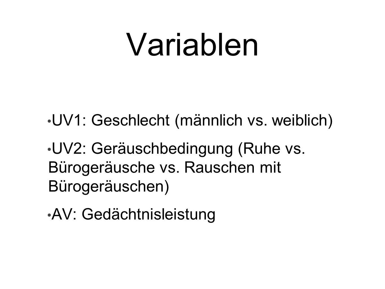 Variablen UV1: Geschlecht (männlich vs. weiblich)