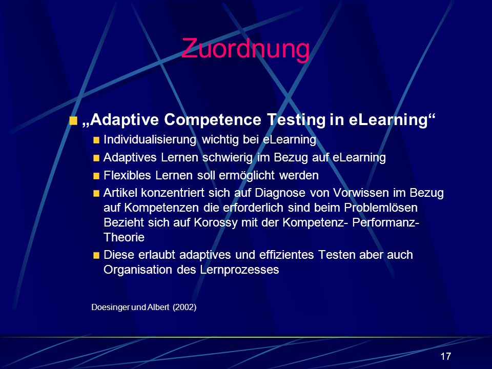 "Zuordnung ""Adaptive Competence Testing in eLearning"
