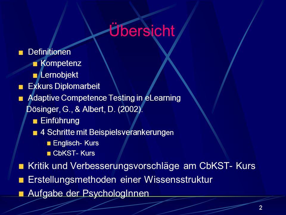 Übersicht Kritik und Verbesserungsvorschläge am CbKST- Kurs