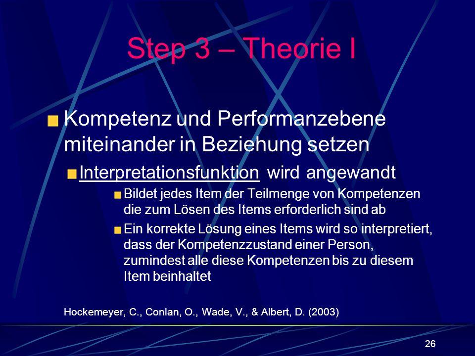 Step 3 – Theorie I Kompetenz und Performanzebene miteinander in Beziehung setzen. Interpretationsfunktion wird angewandt.