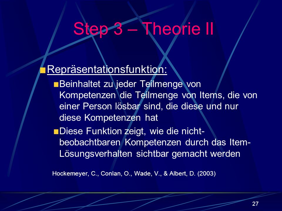 Step 3 – Theorie II Repräsentationsfunktion: