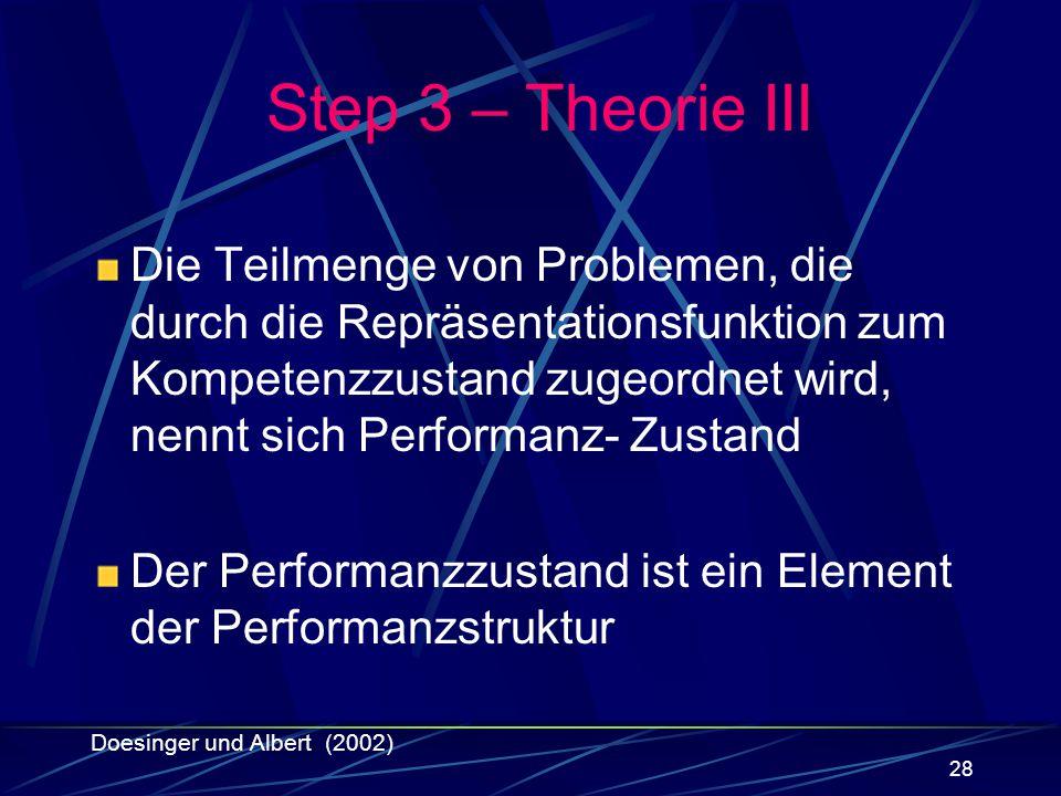 Step 3 – Theorie III