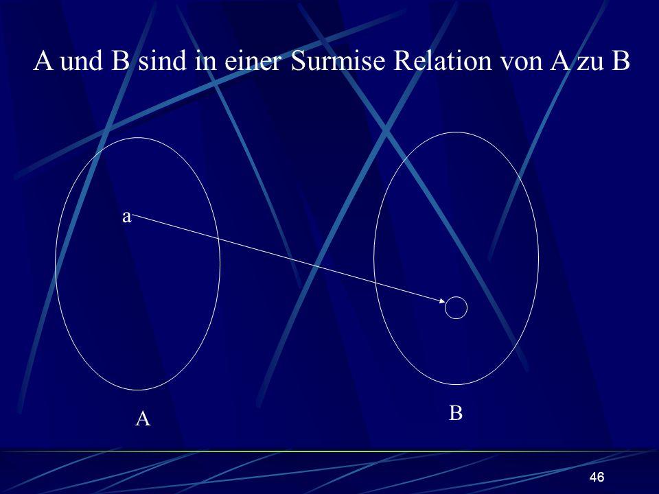 A und B sind in einer Surmise Relation von A zu B