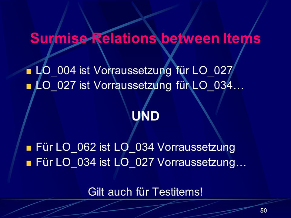 Surmise Relations between Items