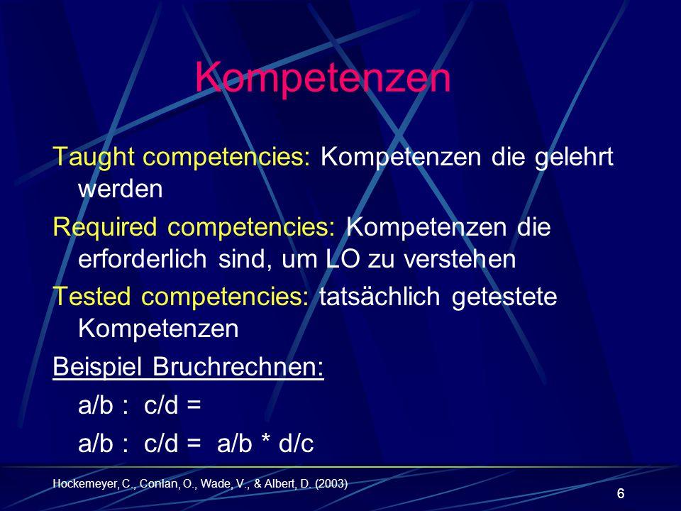 Kompetenzen Taught competencies: Kompetenzen die gelehrt werden